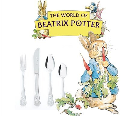 Keltum Junior edelstaal beatrix potter kinderbestek 4-delig art. nr. KS63GA4